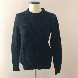 J Crew Black Lambs Wool Fisherman Sweater